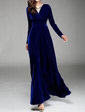 Women's Velvet Long Sleeve V-neck Maxi Winter Autumn Evening Party Prom Dress
