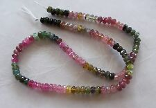 "14"" Strand Watermelon Tourmaline Gemstone Faceted Rondelle Beads 4.5mm-5mm"