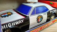 Vintage TAIYO JAPAN Tinplate remote controlled US Police highway patrol car MIB