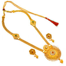 Necklace One Two Gram Gold Plated Kundan Pearl Polki Cz Ad Jade Jewelry Set 7294