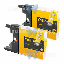 2 YELLOW LC71 LC75 NON-OEM Ink for BROTHER MFC-J430W LC-71 LC-75 LC71Y LC75Y