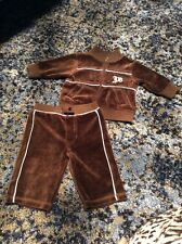 EUC Juicy Couture Baby Boys Tracksuit Velour Brown And Blue Size 0-3 Months