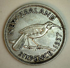 1937 Silver New Zealand Six Pence 6 Pence Coin XF