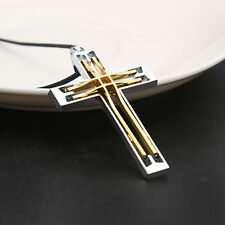 Gift Unisex's Men Gold Silver Stainless Steel Cross Pendant Necklace Chain Charm