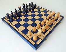 BRAND NEW LARGE HANDCRAFTED COBALT BLUE KINGS WOODEN CHESS SET 49CM