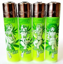 4 x Rare Clipper Lighters - Mary Jane Pinup - Weed Girls - x4 pcs