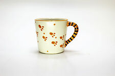 Bengal Tiger Paw Print Coffee mug w/ Cub inside and striped handle Orange&Black