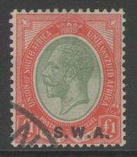 SOUTH WEST AFRICA SG57 1927 £1 PALE OLIVE-GREEN & RED FINE USED