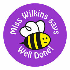 80 Personalised Teacher Reward Stickers for Pupils Well Done BEE Purple