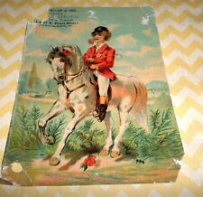Victorian Trade Card Cincinnati, OH Shoes & ? 87 E. Pearl Street Boy on Horse