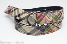 J Crew Cotton Madras Patchwork D Ring Belt Plaid Green Blue Red Summer S/M