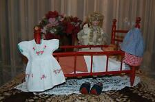 Antique 1930's Wooden Doll Crib With 2 Dolls and Accessories