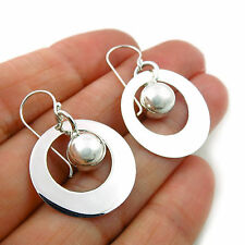 Ball Bead 925 Sterling Silver Circle Earrings