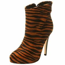 TOPSHOP BOUTIQUE PONY TIGER ANIMAL PRINT FUR PLATFORM ANKLE BIKER BOOTS 5 38