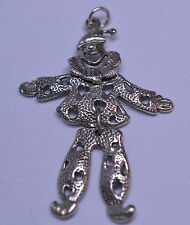 VINTAGE STERLING SILVER MOVABLE HAPPY CLOWN PENDANT 2 1/4 INCHES LONG