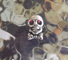 MOTORCYCLE BIKER JEWELRY 2 SKULL with BOW TIE & RED EYES PEWTER PINS ALL NEW.