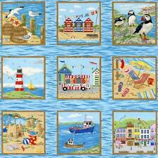 Seaside Scene Image Panels Quilting Fabric 50 Panels Each 8cm Square