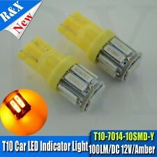 4x T10 7014 10smd LED 194 168 W5W Interior Bulb Light Parking Lamp Yellow /Amber