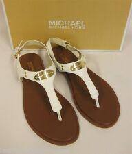 MICHAEL KORS weiße Sandale mit Logo - 38.5 = US 8 - MK plate thong  - NEU / NIB