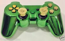 Sony PlayStation 3 Wireless Controller+Green Gamepad Shell+ps3 Bullet Buttons