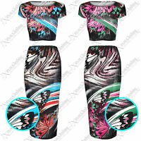 WOMEN LADIES BODYCON BUTTERFLY PRINT PENCIL SKIRT CROP TOP SUIT TOPS MIDI SKIRTS