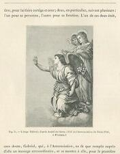 ANTIQUE ANGEL GABRIEL LILY CLOUDS PALAZZO PITTI FLORENCE ITALY MINIATURE PRINT