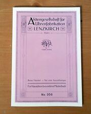 Lenzkirch Katalog No. 356 - Wanduhren und Wecker, Uhrenbuch, Musterbuch