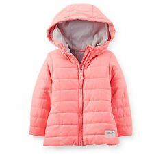 New Carter's Neon Coral Pink Puffer Winter Coat size 6X NWT Hooded Jacket CUTE