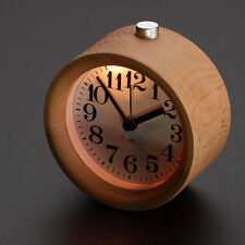 Wooden Alarm Clock Circular No Ticking Snooze Backlight Digital Desk Wood Clock