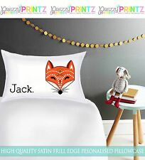 PERSONALISED BOYS GIRLS FOX PILLOWCASE CHRISTMAS BIRTHDAY GIFT LUXURY CHILDRENS