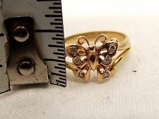 Vtg 14K Yellow Rose Gold Butterfly Diamond Ring Sz 7.25 Accent Estate Figural