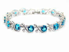 Silver London Blue And White Topaz 16ct Bracelet