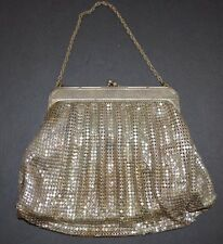 WHITING AND DAVIS SILVER METAL MESH HAND BAG PURSE