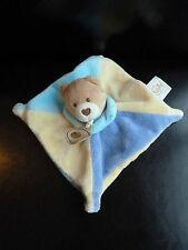4/ DOUDOU PLAT CARRE BABY NAT BABYNAT OURS bleu jaune mauve EXCELL. ETAT LOT X 2