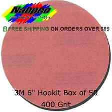 "3M 400 Grit 6"" Red Hookit Abrasive Sandpaper Disc Box of 50 Part # 01218"