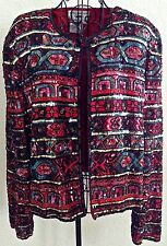 Papell Boutique Evening Beaded Sequin Jacket Top 100% Silk Lined L NWT MSRP $160