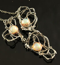 Fine Art Jewelry Natural Opal 925 Sterling Silver Necklace 15 in