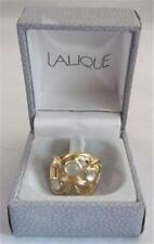 Lalique RONCES Ring Gold Over Sterling Silver W/ 3 Cabochon Crystals NEW In Box