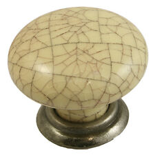 Cream Crackle with Antique Pewter Base Kitchen Cupboard Door Knobs 35mm