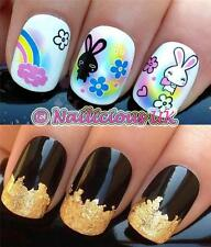 NAIL ART SET #280. BUNNIES RAINBOW WATER TRANSFERS/DECALS/STICKERS & GOLD LEAF