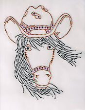 Horse Rhinestone iron on transfer DIY hot fix applique cowgirl hat decoration