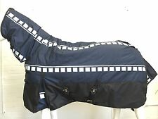 600D NVY CHECK/BLK 300G WINTER STABLE HORSE COMBO RUG - 6' 0