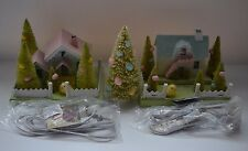 BETHANY LOWE MANTLE EASTER VILLAGE PUTZ HOUSE Set with Egg Tree + LIGHTS