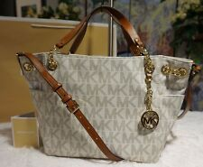 NWT Michael Kors JET SET Chain Gather Shoulder Tote Bag Leather In VANILLA $328