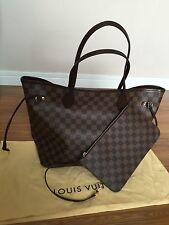 BNWT AUTHENTIC LOUIS VUITTON DAMIER EBENE NEVERFULL MM RED INTERIOR RARE VI2126