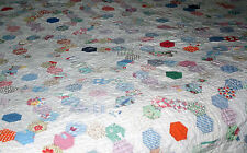 VINTAGE HAND MADE QUILT in Grandmother's Flower Garden patte size approx. 84x70""