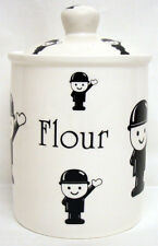 The Flour Man Canister Bone China Flour Lidded Storage Jar Hand Decorated in UK