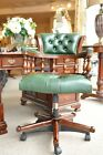 Solid Mahogany Green Leather Georgian Captains Swivel Period Office Chair Desk