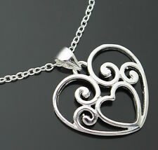 BEAUTIFUL STERLING SILVER PLATE FILIGREE LOVE HEART PENDANT 45CM CHAIN NECKLACE