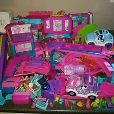 huge lot of polly pockets toys dolls clothes accesories stage car swing